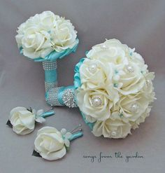 tiffany blue wedding bouquets | Bridal Bouquet Stephanotis Roses Tiffany Blue Ribbon Bridesmaid ...
