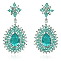 Sutra Paraiba drop earrings in white gold set with 39ct of Paraiba tourmalines and 7ct of diamonds