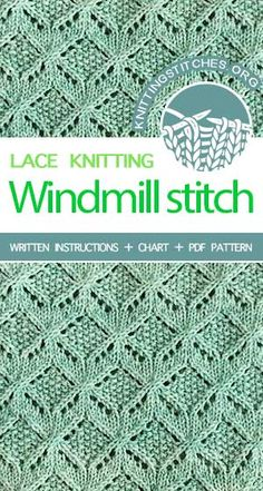 Knitting Stitches: Lace & Cable. Knitting Stitch Pattern with combination lace and cable