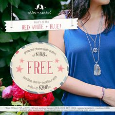 Here's to the red white + blue! Free pendant with purchase of $100 or more. Happy 4th everyone!