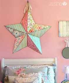 A Stellar DIY Craft And Gift! Take scrapbook paper and customize metal stars to match your interior, a themed party, or for a gift for a friend. Adorable poem for gift giving included in tutorial. #stars #diy #decor