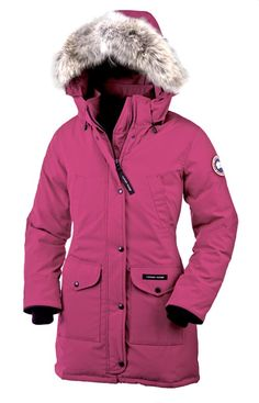 PROTECTON. Canada goose, long and pink winter coat.   This coat keeps you warm for the cold in winter.   Identify me because since I live in Canda I wear a coat everyday.