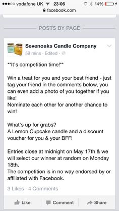 Pop onto our Facebook page to enter! www.facebook.com/SevenoaksCandleCompany  Re pin for an extra entry! Candle Wax, Candles, Competition Time, Candle Companies, Scentsy, Fragrances, Lovers, Bar, Facebook