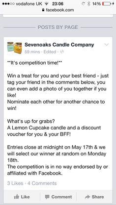 Pop onto our Facebook page to enter! www.facebook.com/SevenoaksCandleCompany  Re pin for an extra entry!
