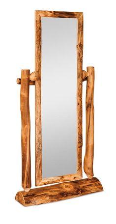 Amish Rustic Pine Wood Log with Floor Mirror