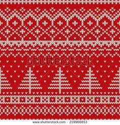 Winter Christmas Scandinavian Style Seamless Knitted Pattern - stock vector