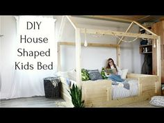These free plans show you how to build your own DIY kids house bed from standard construction lumber and simple joinery. There's a video tutorial, too! House Beds For Kids, Kid Beds, Diy Modern Bed, Furniture Projects, Diy Furniture, Wood Projects, Metal Twin Bed Frame, Diy Storage Bed, Storage Ideas