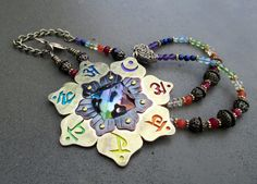 Chakra Necklace, 7 Chakra Pendant, Clear Quartz Pyramid, Chakra Symbols, Lotus Flower, Energy Healing, Mandala, Chakra Jewelry