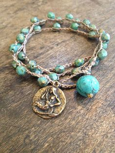 """Mermaid Turquoise Multi Wrap Knotted Bracelet, Necklace """"Surfer Girl Chic"""""""