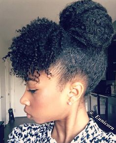 Cute updo w faux bang Natural Hair Curly hair styles, Hair african american natural hair updo styles - Natural Hair Styles Cabello Afro Natural, Pelo Natural, Natural Hair Updo, Natural Hair Journey, Natural Hair Care, Natural Hair Styles, Natural Updo Hairstyles, Wedding Hairstyles, Beautiful Hairstyles