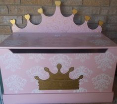 Furniture, Princess CROWN, Toy Box, Toy Chest, Bench, Hope Chest, Toy Bin, Toy Storage, Custom, Kids and Baby, PinK and Green Kids by spoiltrottn on Etsy https://www.etsy.com/listing/227425893/furniture-princess-crown-toy-box-toy