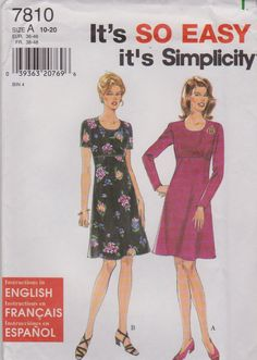Simplicity Sewing Pattern 7810 Misses Size 10-20 Easy Raised Empire Wasit Dress Sleeve Options   Simplicity+Sewing+Pattern+7810+Misses+Size+10-20+Easy+Raised+Empire+Wasit+Dress+Sleeve+Options