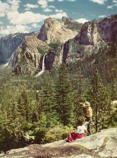 Bridalveil Fall, Yosemite National Park, California // National Geographic, 1951  #campvibes #polerstuff #poler