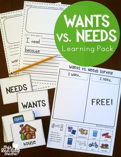 Learning the difference between a want and a need with your kindergartner! A great way to explore vocabulary as well as a life concept!