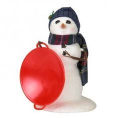 Byers' Choice Snow Day Fun, Small Snowman with Saucer   When the snow comes cold and deep, every family tries to create the best snowman on the block. This Snowman is ready to take a spin on the ice!