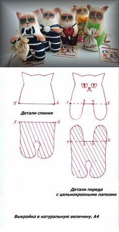Grumpy Cat stuffed toy pattern idea - Суровые коты (с цельнокроеными лапками).