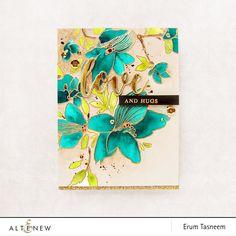 Altenew Sketchy Floral and Script Words Die Set, watercoloured by Erum Tasneem - @pr0digy0