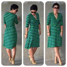 Fashion, Lifestyle, and DIY: OOTD: DIY Striped Wrap Dress + Pattern Review KS 3489