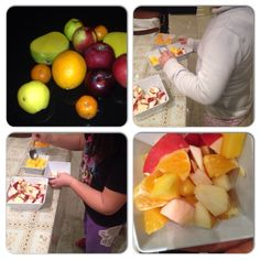 Have the kids make their own fruit salad using sliced fruits! great way to promote healthy eating #edibleschoolyard
