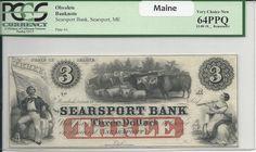 $3 Maine Obsolete Banknote PCGS 64PPQ…