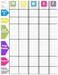 LESSON PLAN TEMPLATE (WEEKLY VIEW)   TeachersPayTeachers.com:  Free Lesson Plan Format