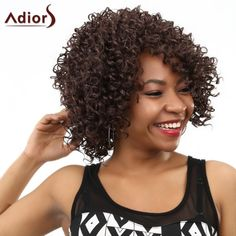 Natural Black Synthetic Hair High Temperature Fibre Vogue Women's Short Kinky Curly Afro Wig #>=#>=#>=#>=#> Click on the pin to check out discount price, color, size, shipping, etc. Save and like it!