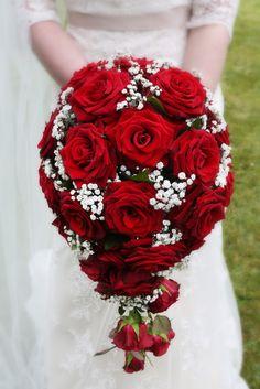 Teardrop dark red rose and gypsophila bride bouquet. -Christine Carter