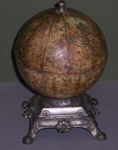 Institut National de Geographie. J. Lebegue & Cie Globe , Interesting French Globe Box On Exquisite Stand, Globe Maker: J. Lebeque & Cie; Cartographer: French. Institut National de Geographie (Published: J. Lebeque & Cie. c1890. Paris)