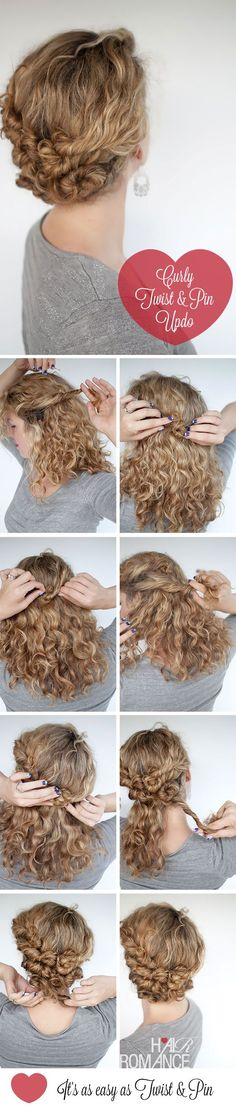 Cute for someone with curly hair Hair Romance - curly Twist & Pin hairstyle tutorial Travel Hairstyles, Up Hairstyles, Stylish Hairstyles, Fashion Hairstyles, Wedding Hairstyles, Amazing Hairstyles, Homecoming Hairstyles, Medium Hairstyles, Hair Romance Curly