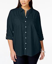 Style & Co. Plus Size Button-Down Roll-Tab-Sleeve Blouse, Only at Macy's