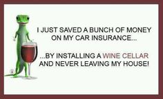 I just saved a bunch of money on my car insurance. by installing a wine cellar and never leaving my house. Wine Jokes, Wine Meme, Funny Wine, Wine Funnies, Beer Humor, Wine Pics, Traveling Vineyard, Wine Guide, Wine Wednesday