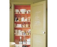 More chalkboard paint ideas, this one from Martha Stewart.  I love how the inside of the pantry is painted in a different color too!