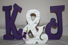 Purple wedding decoration set of three by PaintedPoshDesigns, $39.95