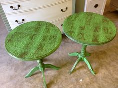 Annie Sloan Chalk Paint in Green  Paintable wallpaper topped tables  Vintage Charm and Restoration