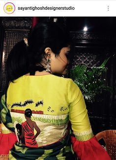 Blouse Back Neck Designs, Fancy Blouse Designs, Saree Painting Designs, Fabric Paint Designs, Hand Painted Sarees, Saree Floral, Blouse Models, Fabric Painting, Dress Painting