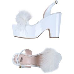 Moschino Cheapandchic Sandals featuring polyvore, women's fashion, shoes, sandals, heels, moschino, white, white leather shoes, white sandals, white heeled sandals, white shoes and leather sandals