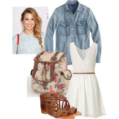 """Floral Backpack: First Day of School Outfit"" by fashionscoutapp on Polyvore. It's never too early to start planning for the first day of school outfit. Make a statement this year with an adorable floral backpack. A simple white dress paired with a large chambray top, leather sandals, and a messy side braid, will make a stylish first impression that will last all year long."