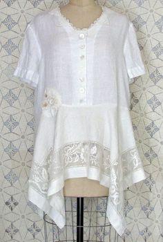White Linen Tunic Dress Vintage Doily  Lace Shabby by RevampReuse, $139.00