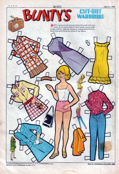 Beeworld Pty Ltd presents Alex's paper doll stuff - Vintage Bunty: paperdoll, wardrobe and comics. 1970s Childhood, My Childhood Memories, Vintage Paper Dolls, Retro Toys, Printable Paper, Doll Toys, Diy Clothes, Art For Kids, Paper Crafts
