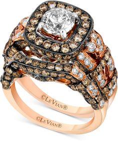 Le Vian Chocolatier® Diamond Bridal Set (2-9/10 ct. t.w.) in 14k Rose Gold https://api.shopstyle.com/action/apiVisitRetailer?id=603211295&pid=uid2500-37484350-28