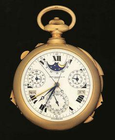 """Henry Graves' Supercomplication. Com 2 faces e 24 funções (ou """"complicações"""", como Henry Graves gostava de lhes chamar), foi na sua altura o relógio mais complexo. Feito propositadamente para o magnata, demorou 4 anos a ser construído, e é, obviamente, um exemplar único."""