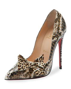 Madame Menodo Snakeskin 100mm Red Sole Pump, Black/Gold by Christian Louboutin at Neiman Marcus.