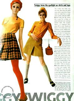 Twiggy Models a Wardrobe. Seventeen - July We all had front-pleated wrap-around wool skirts. We wore tights and tucked our poor-boy tee shirts in. 60s And 70s Fashion, Mod Fashion, Vintage Fashion, Fashion Trends, Gothic Fashion, Fashion Outfits, Moda Retro, Moda Vintage, Twiggy Model
