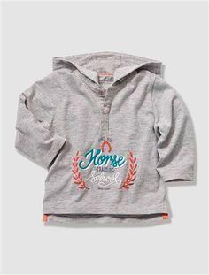 T-shirt bébé à capuche ECRU+GRIS CHINE - vertbaudet enfant