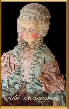 Very Rare LENCI type French La Nicette Marquise Boudoir  Doll