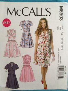 McCall's Pattern M6503 Misses' Pullover Dresses 4 Styles sizes 6-14