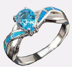 Cr Opal Inlay and Turquoise Sterling Silver Ring from Opal Jewelry Express
