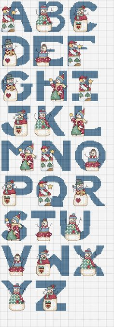 Cross-stitch Snowmen ABCs .. no color chart available, just use pattern chart as your color guide.. or choose your own colors...    Schema 57 Alfabeti
