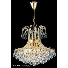 Diyas Bask Asfour Crystal & Gold Finish 6 Light Ceiling Pendant