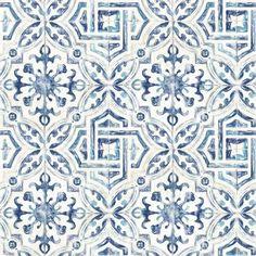 Mistana Jovanny Spanish Tile L x W Geometric Wallpaper Roll Look Wallpaper, Tile Wallpaper, Prepasted Wallpaper, Wallpaper Samples, Peel And Stick Wallpaper, Kitchen Wallpaper Accent Wall, Blue Geometric Wallpaper, Glittery Wallpaper, Moroccan Wallpaper
